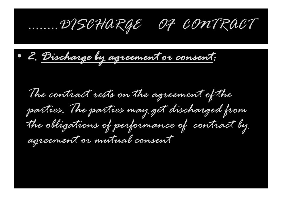 ……..DISCHARGE OF CONTRACT