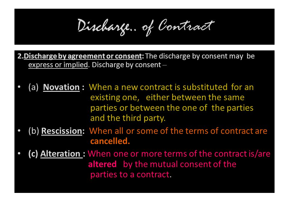 Discharge.. of Contract 2.Discharge by agreement or consent: The discharge by consent may be express or implied. Discharge by consent –