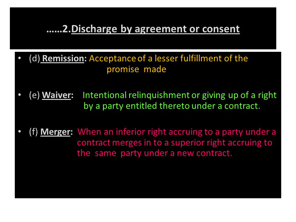 ……2.Discharge by agreement or consent