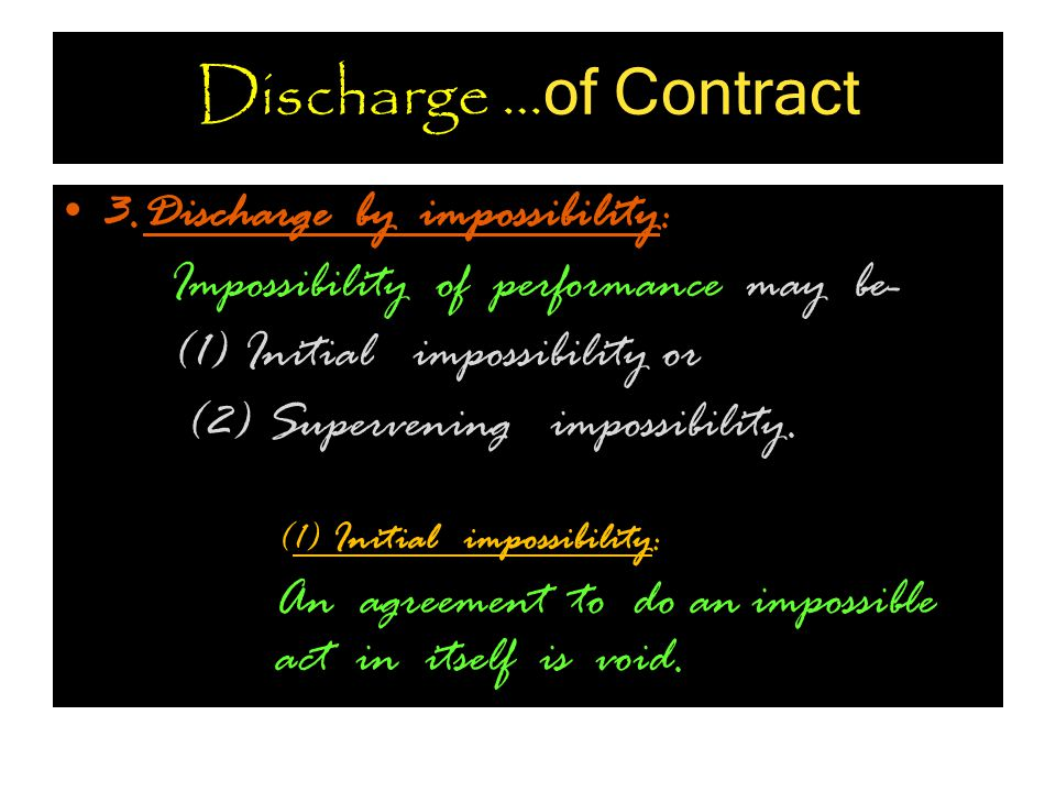 Discharge …of Contract