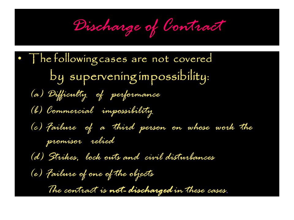 Discharge of Contract The following cases are not covered