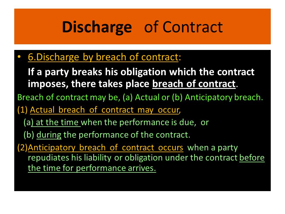 Discharge of Contract 6.Discharge by breach of contract:
