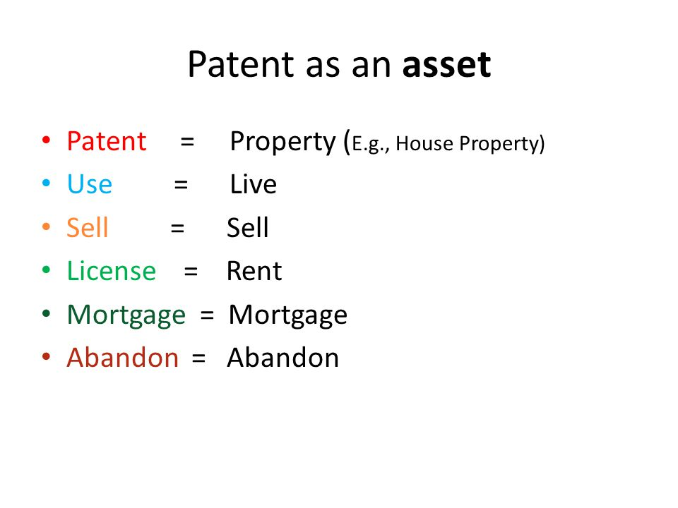 Patent as an asset Patent = Property (E.g., House Property) Use = Live