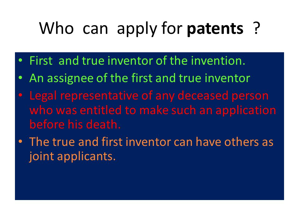 Who can apply for patents