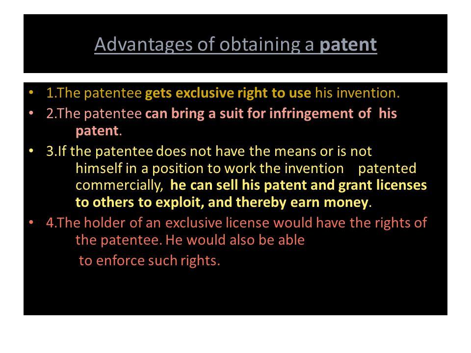 Advantages of obtaining a patent