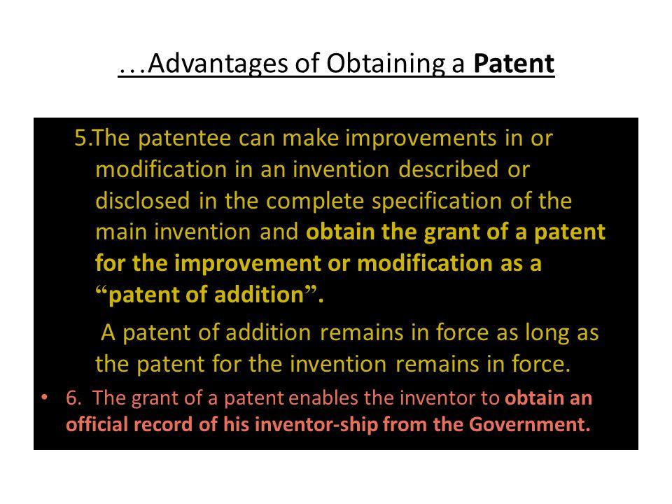…Advantages of Obtaining a Patent