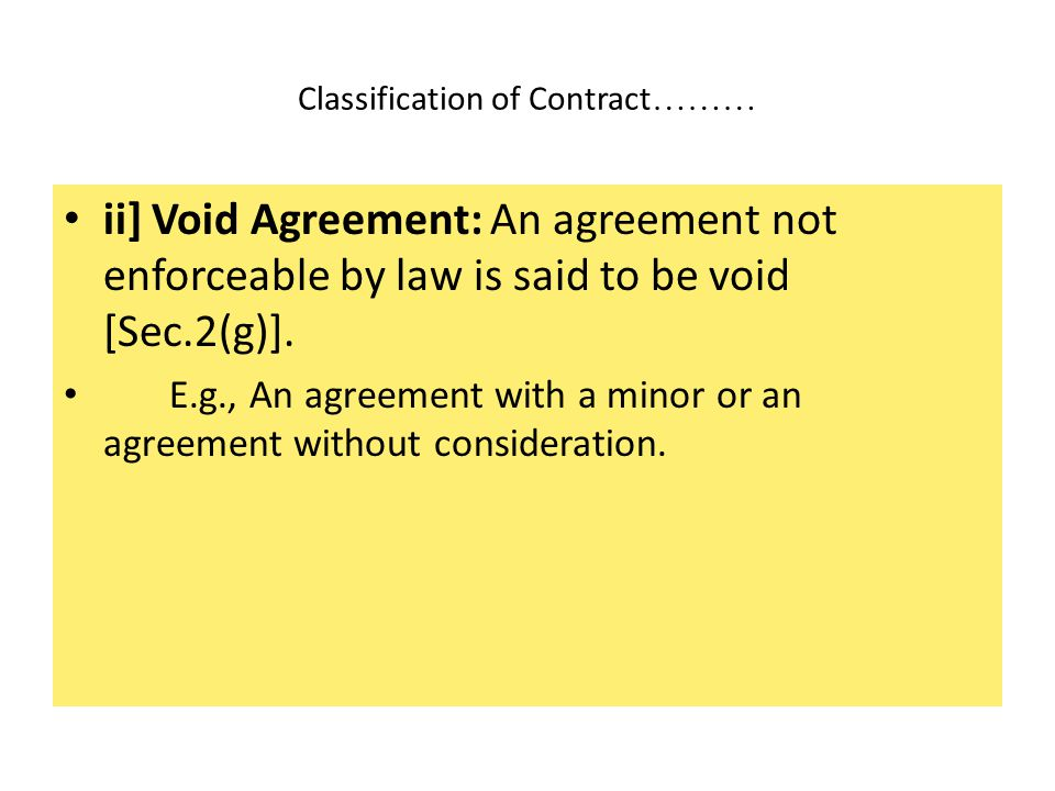 Classification of Contract………