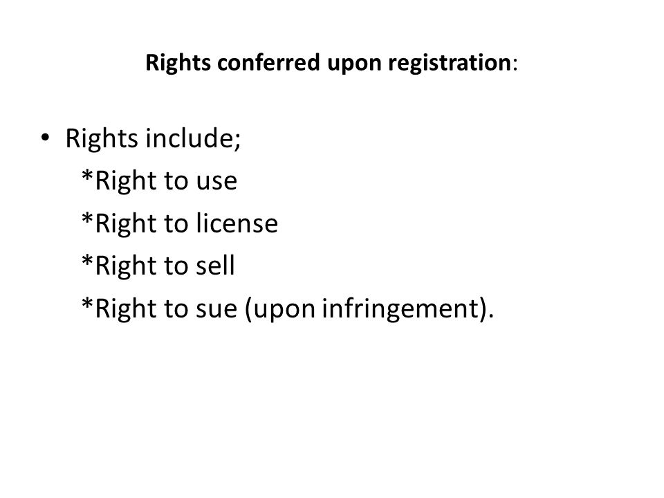 Rights conferred upon registration: