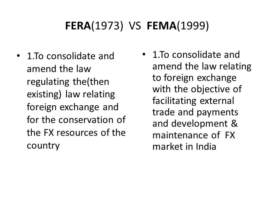 FERA(1973) VS FEMA(1999)
