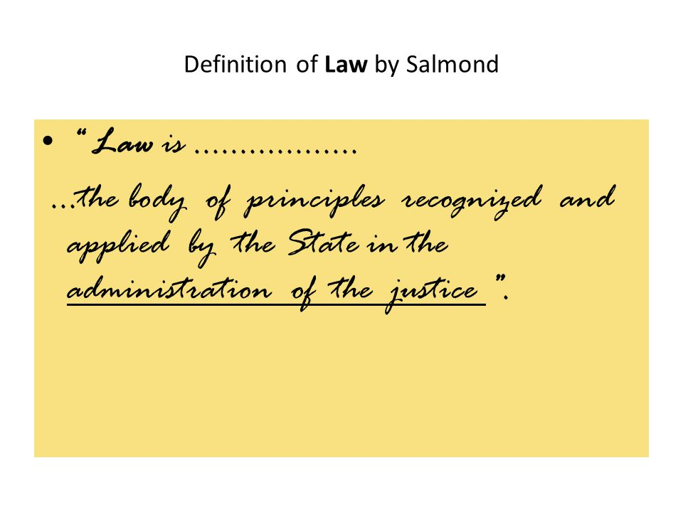 Definition of Law by Salmond