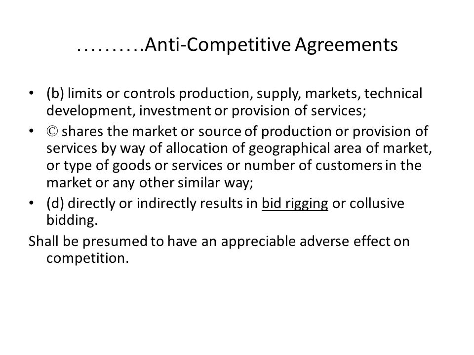 ……….Anti-Competitive Agreements