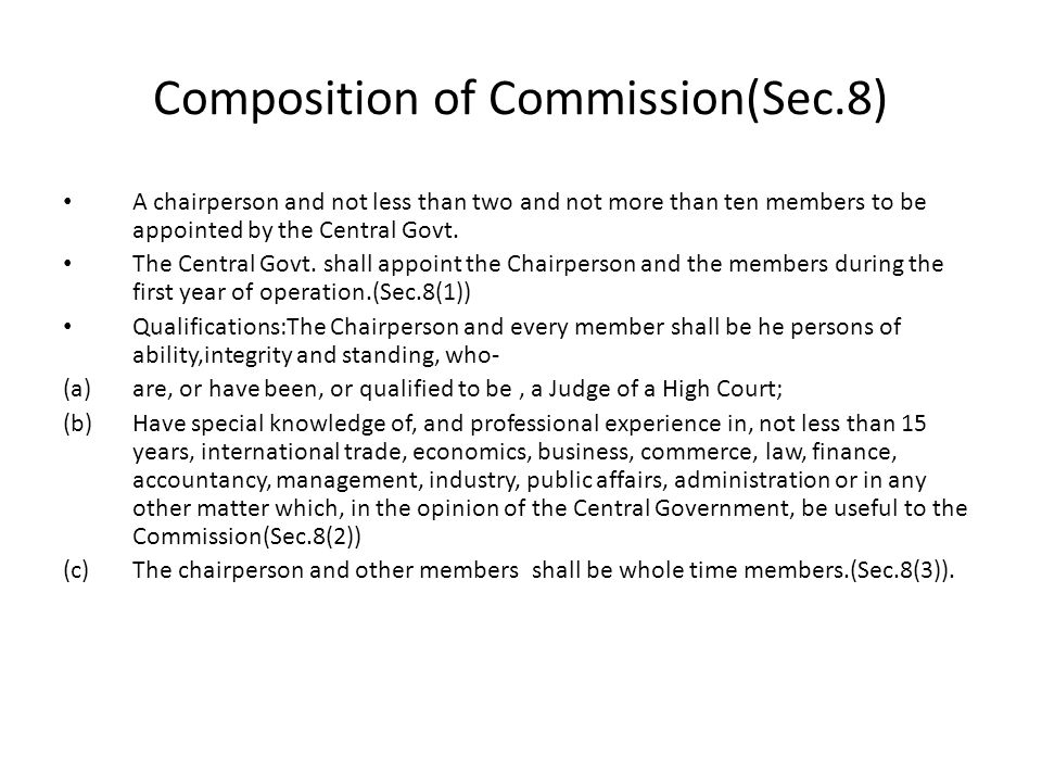 Composition of Commission(Sec.8)