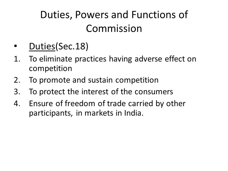 Duties, Powers and Functions of Commission