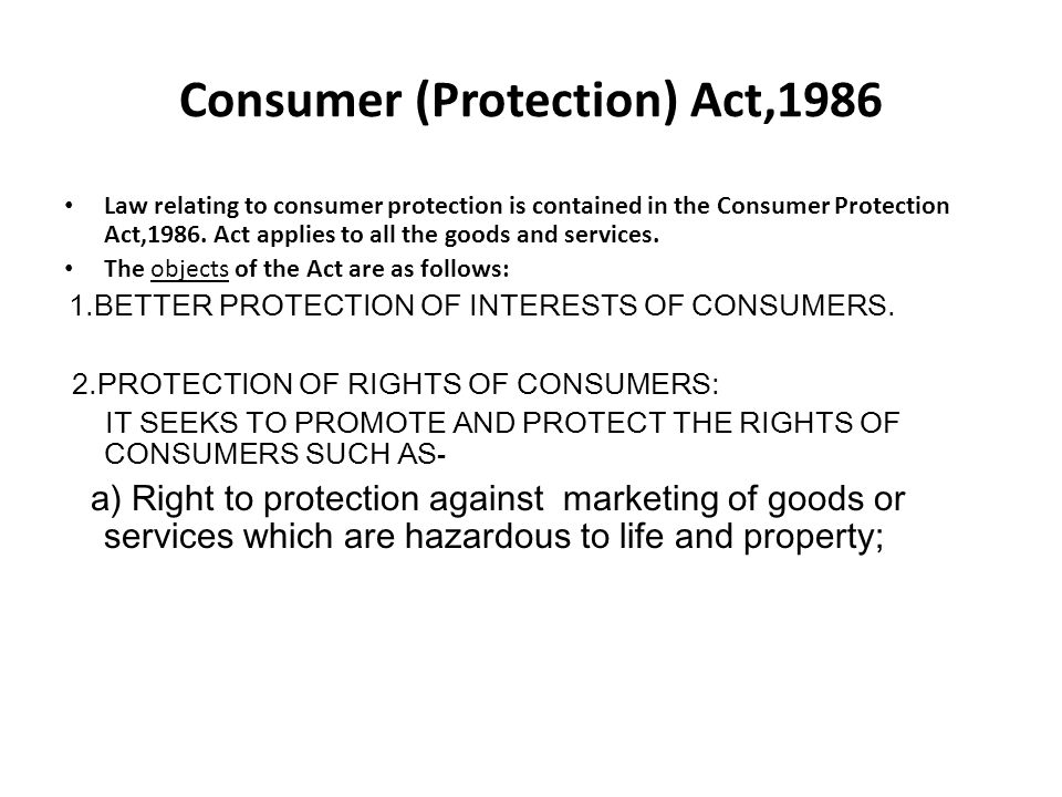 Consumer (Protection) Act,1986