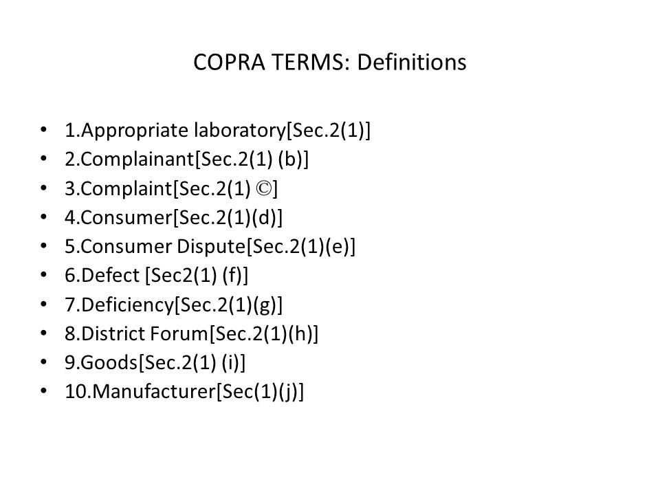 COPRA TERMS: Definitions