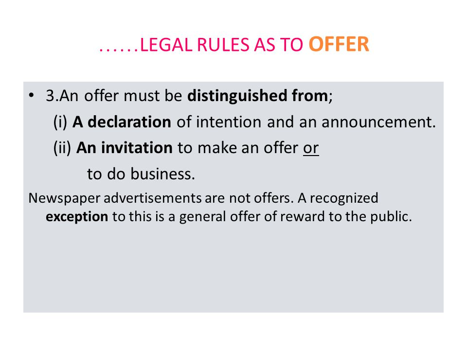 ……LEGAL RULES AS TO OFFER