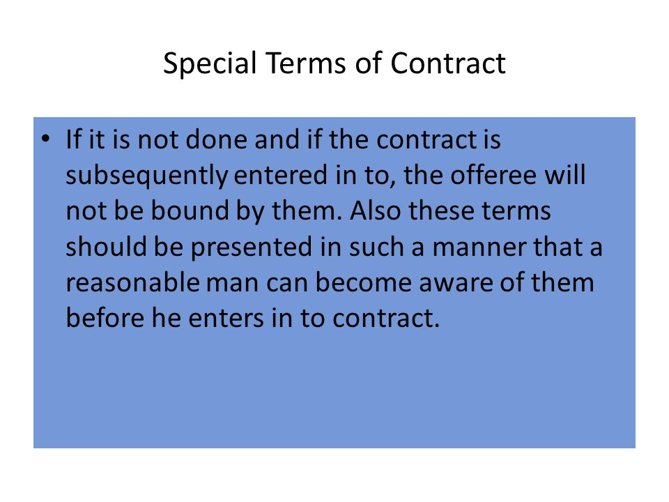 Special Terms of Contract
