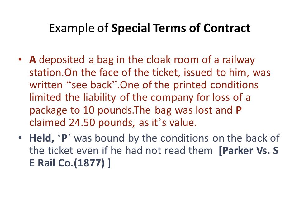 Example of Special Terms of Contract