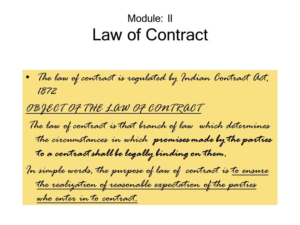 Module: II Law of Contract