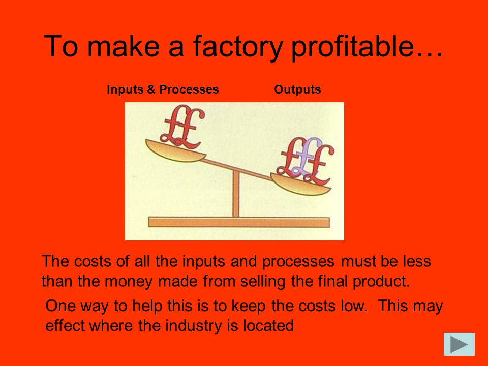 To make a factory profitable…