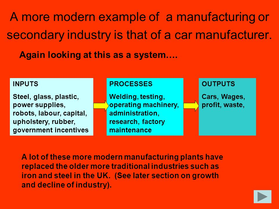 A more modern example of a manufacturing or secondary industry is that of a car manufacturer.