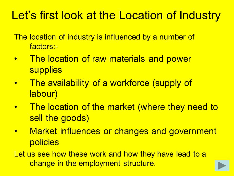Let's first look at the Location of Industry