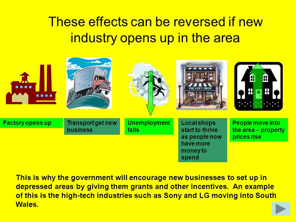 These effects can be reversed if new industry opens up in the area