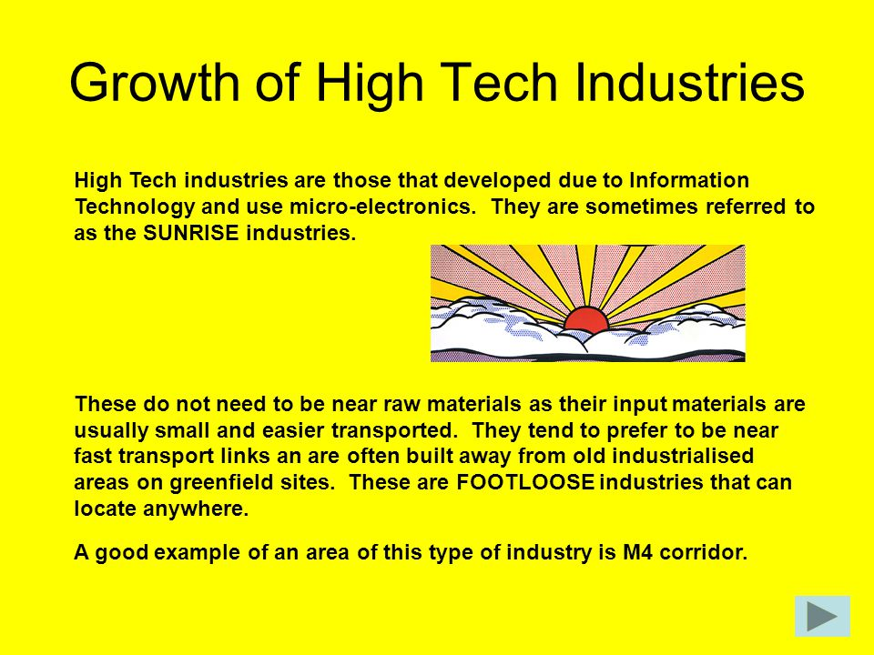 Growth of High Tech Industries