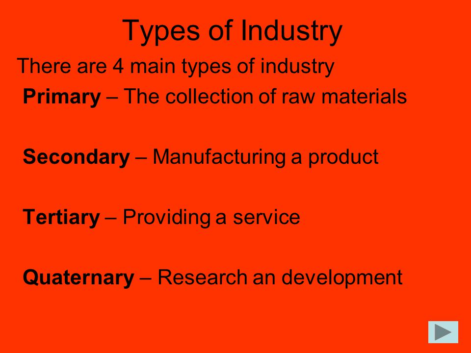 Types of Industry There are 4 main types of industry