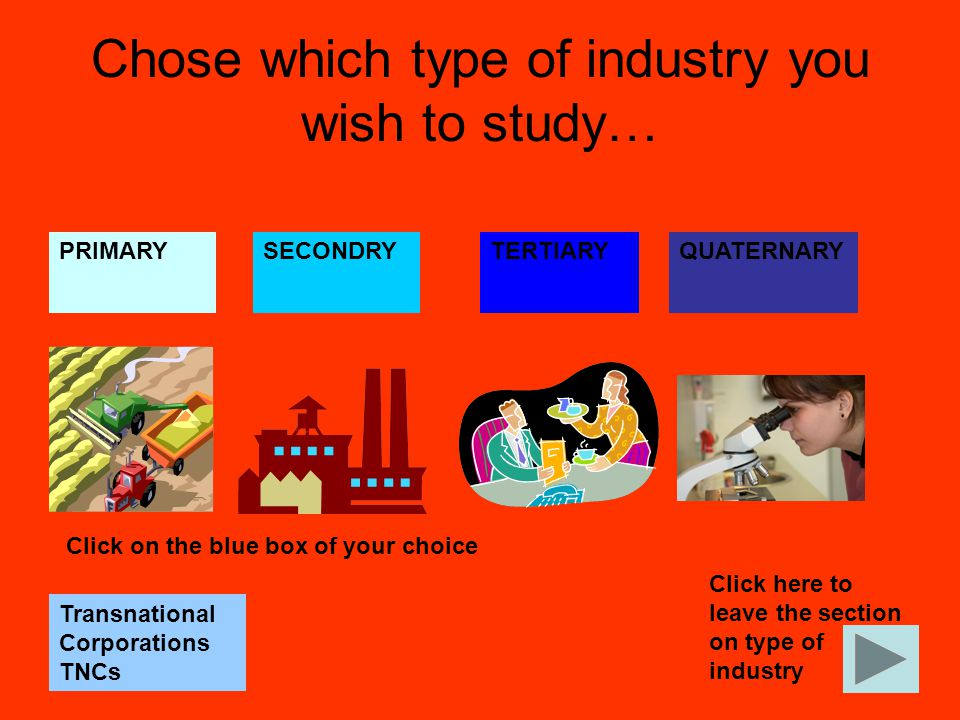 Chose which type of industry you wish to study…