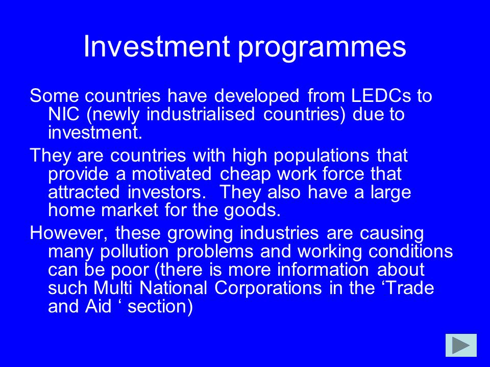 Investment programmes