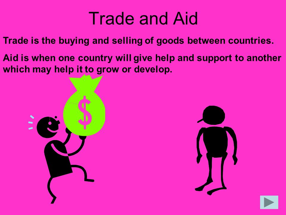 Trade and Aid Trade is the buying and selling of goods between countries.