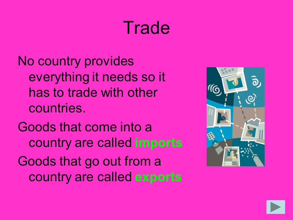 Trade No country provides everything it needs so it has to trade with other countries. Goods that come into a country are called imports.