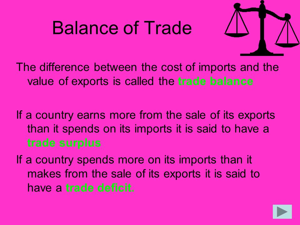Balance of Trade The difference between the cost of imports and the value of exports is called the trade balance.