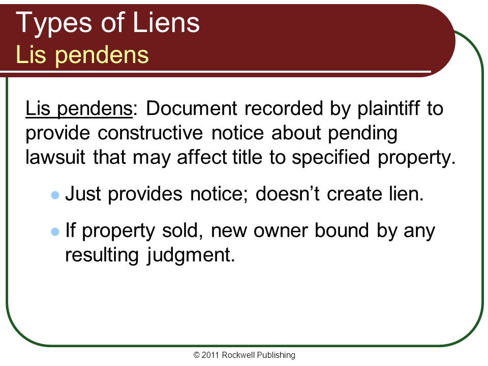 Types of Liens Lis pendens
