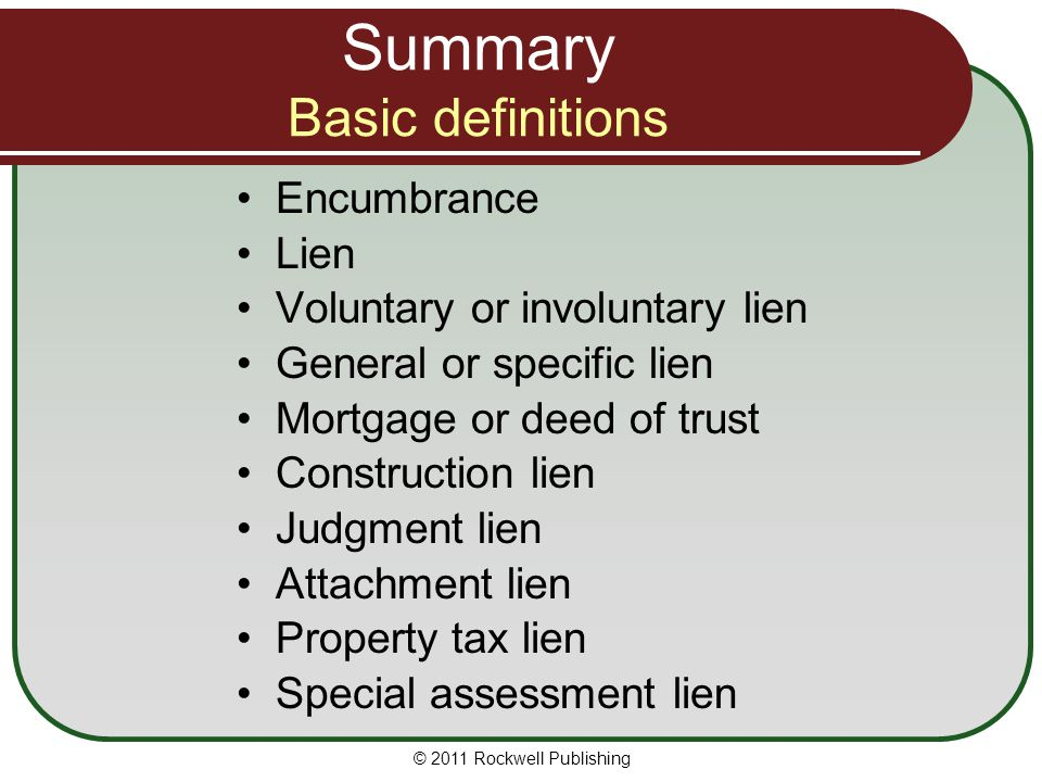 Summary Basic definitions