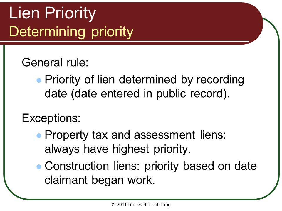 Lien Priority Determining priority