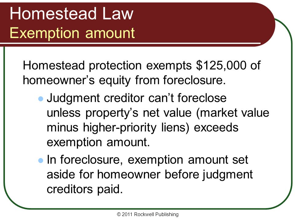 Homestead Law Exemption amount