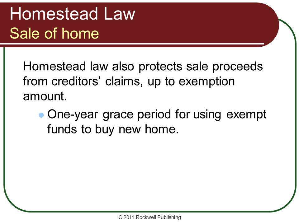 Homestead Law Sale of home