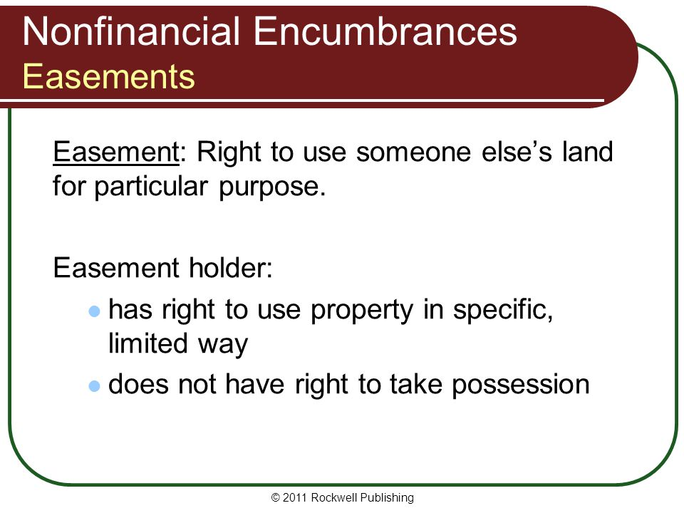 Nonfinancial Encumbrances Easements