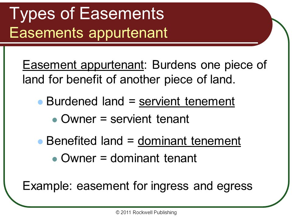 Types of Easements Easements appurtenant