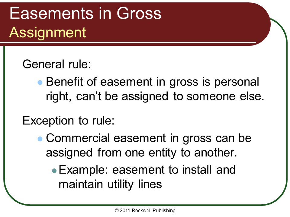 Easements in Gross Assignment