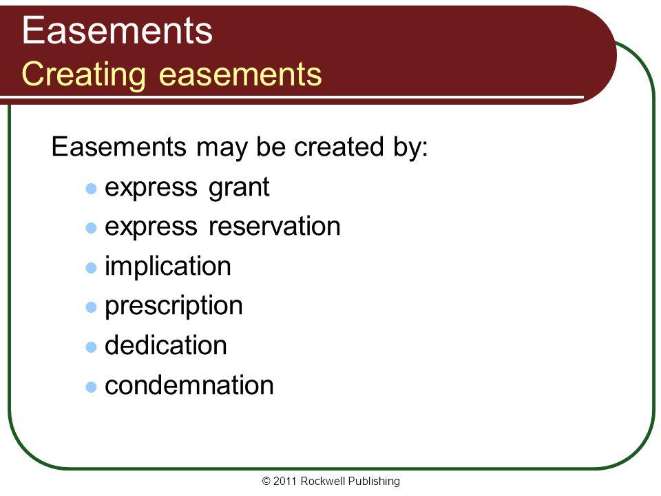 Easements Creating easements