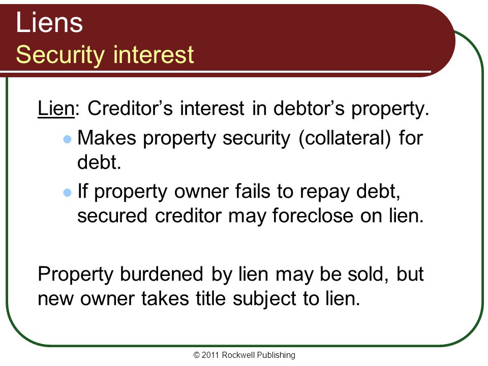Liens Security interest