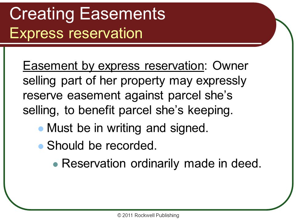Creating Easements Express reservation