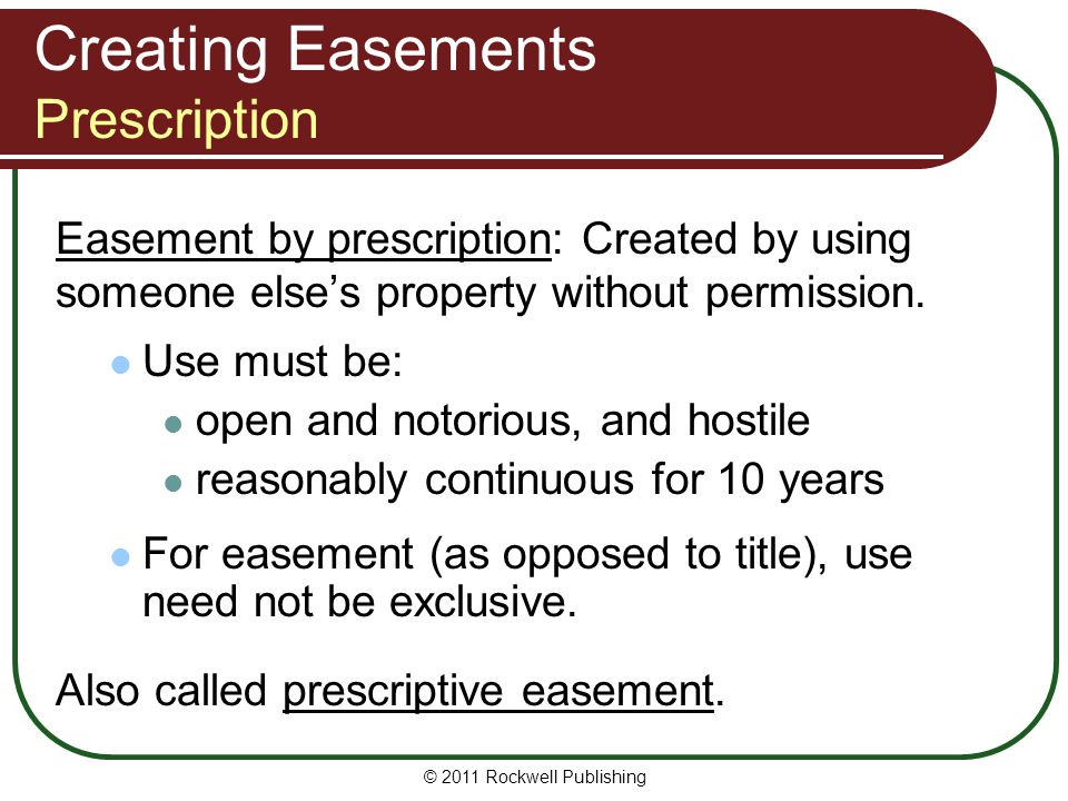 Creating Easements Prescription