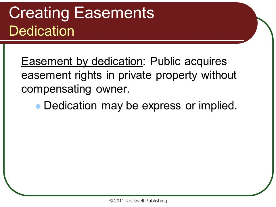 Creating Easements Dedication