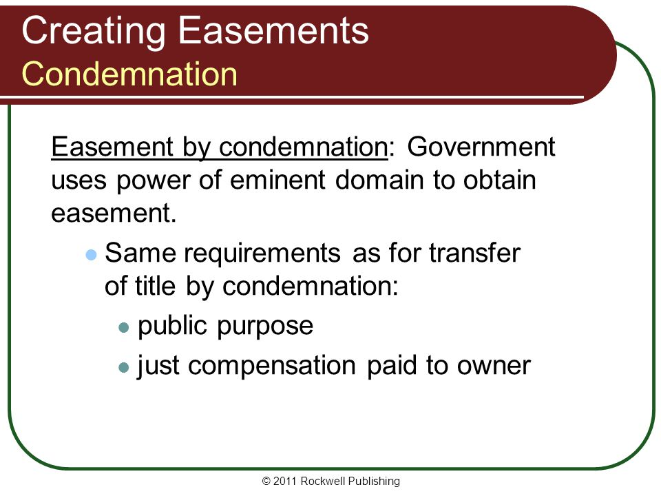 Creating Easements Condemnation