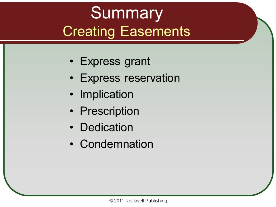 Summary Creating Easements