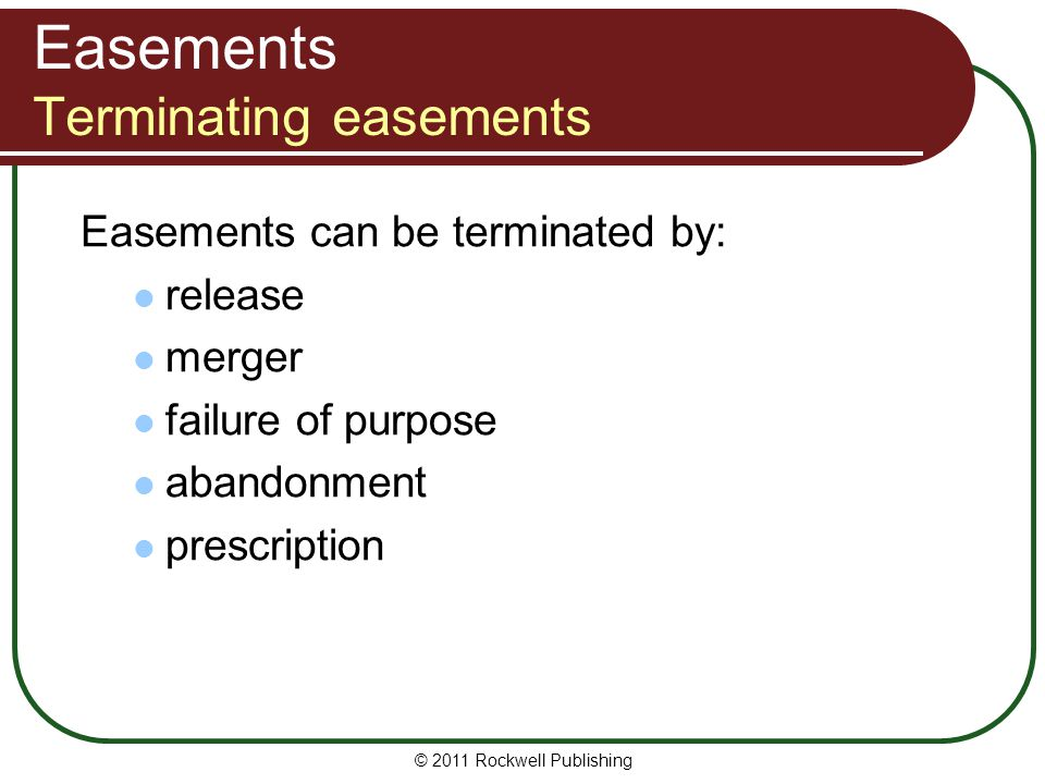Easements Terminating easements